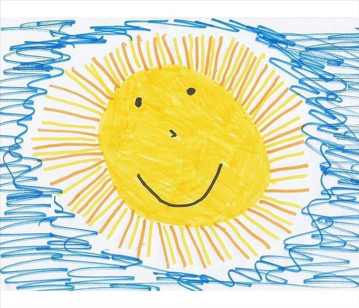 Child's drawing of yellow sun