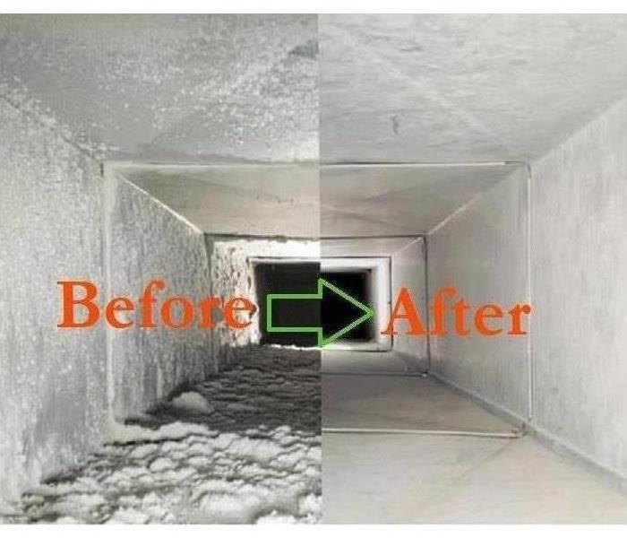Before and After photo of air ducts with mold and no mold